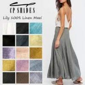 CP Shades Gray 100% Rayon Long Maxi Skirt
